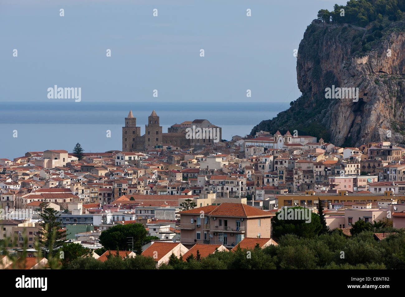 Cefalu Cifalù  Sicily Tyrrhenian Sea Old Town cathedral blow the rock - Stock Image