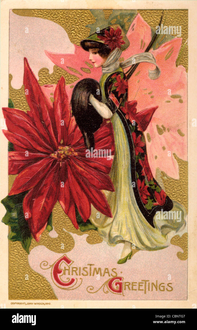 Art Nouveau Beauty with Christmas Greetings - Stock Image