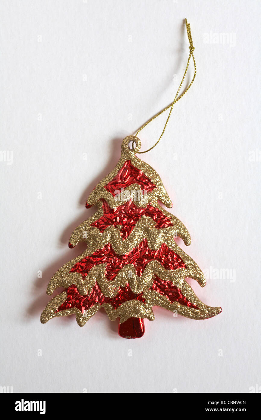 Decorative Red And Gold Christmas Tree Ornament Isolated On White Stock Photo Alamy