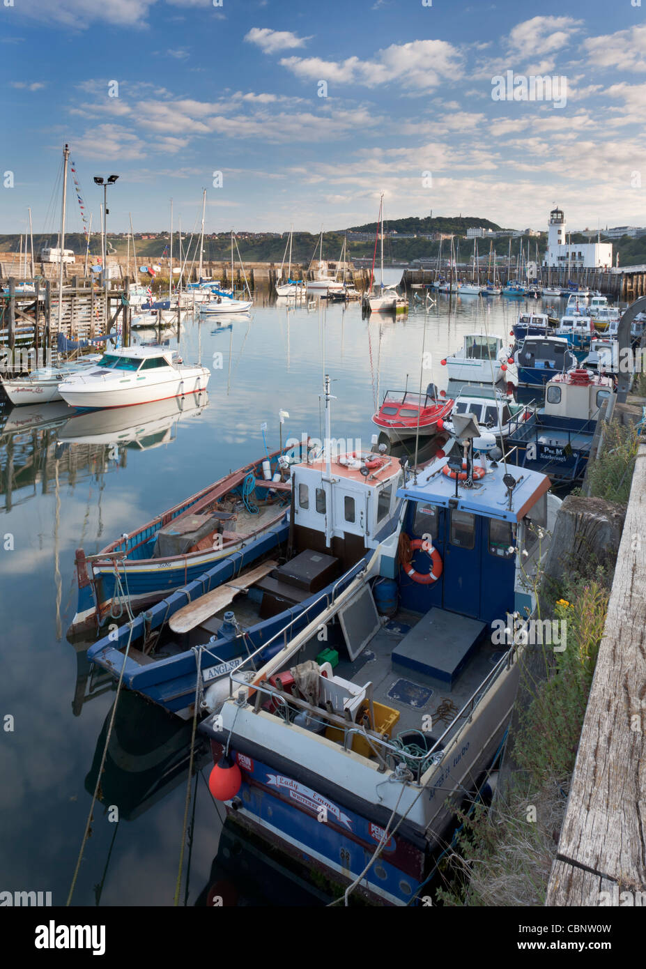 Harbour view of fishing and pleasure boats at Scarborough on the Yorkshire coast. - Stock Image