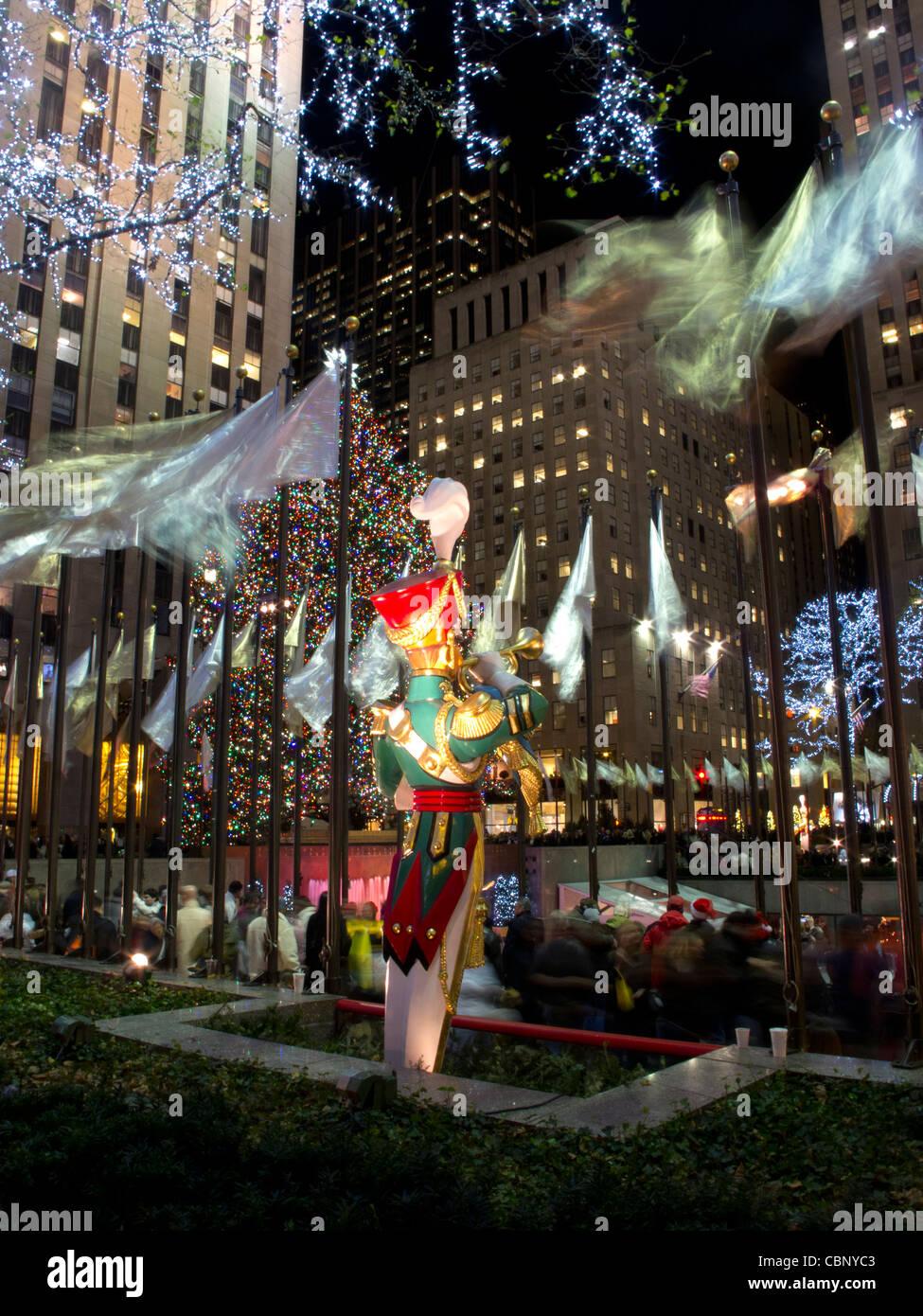 Giant Christmas Figures at Rockefeller Plaza at Christmas at Night,New York City, New York, USA Stock Photo