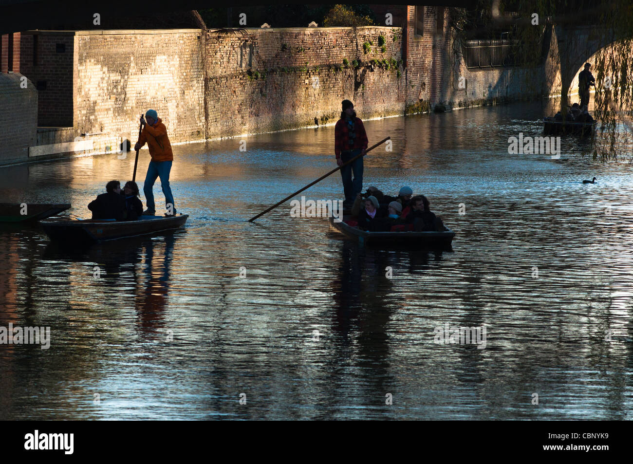 Silhouettes of punters of river Cam, Cambridge. - Stock Image