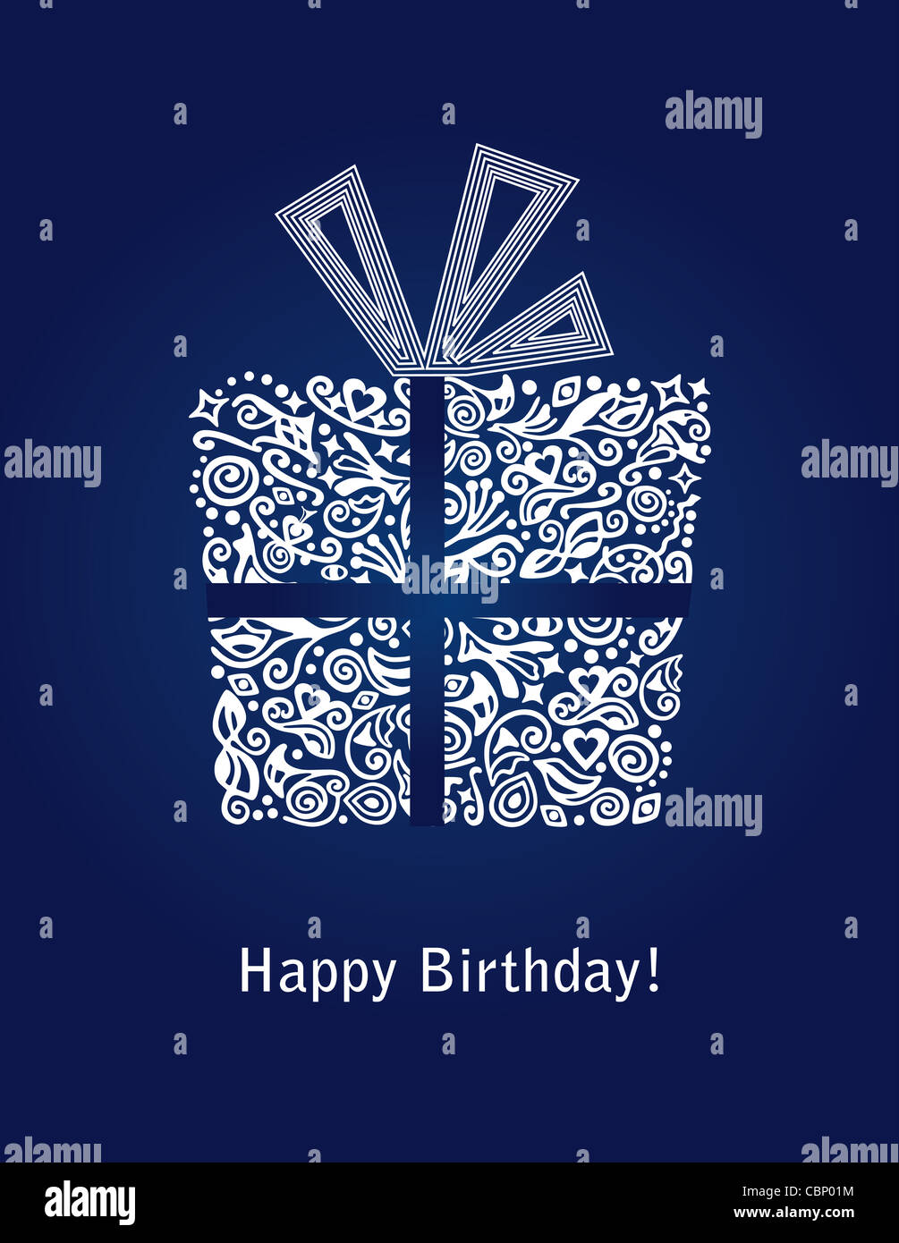 Blue Mens Happy Birthday Card With Detailed Gift Box And Ribbon