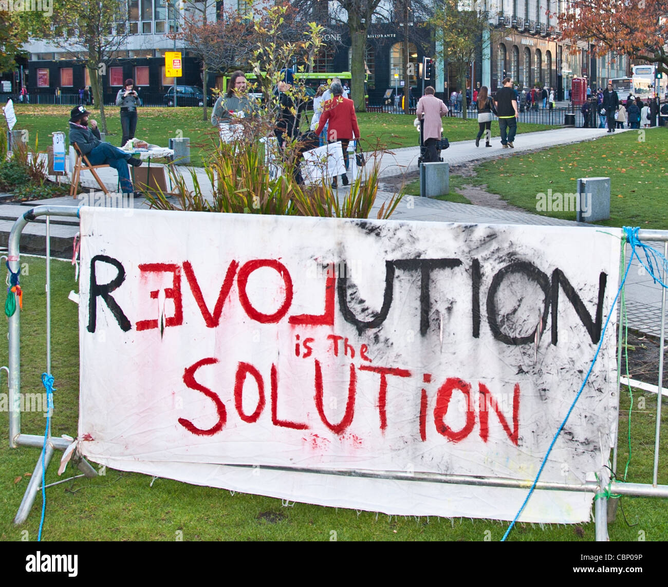 Occupy Edinburgh Protest part of the worldwide anti capitalist movement, St Andrews Square Edinburgh - Stock Image