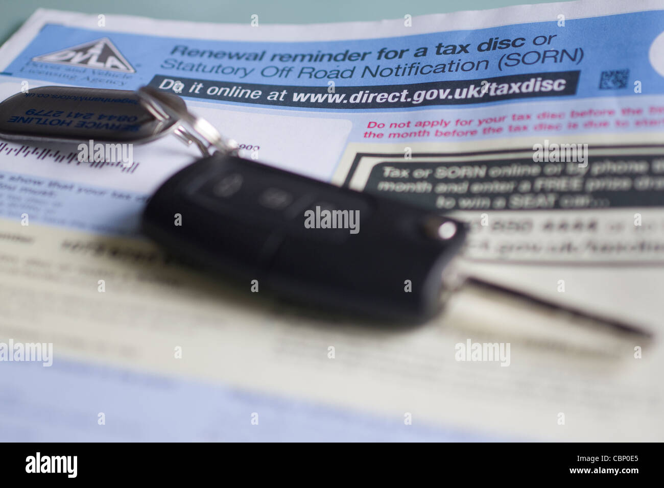 Road fund licence, renewal reminder for tax disc or stautory off road notice Car tax sorn - Stock Image