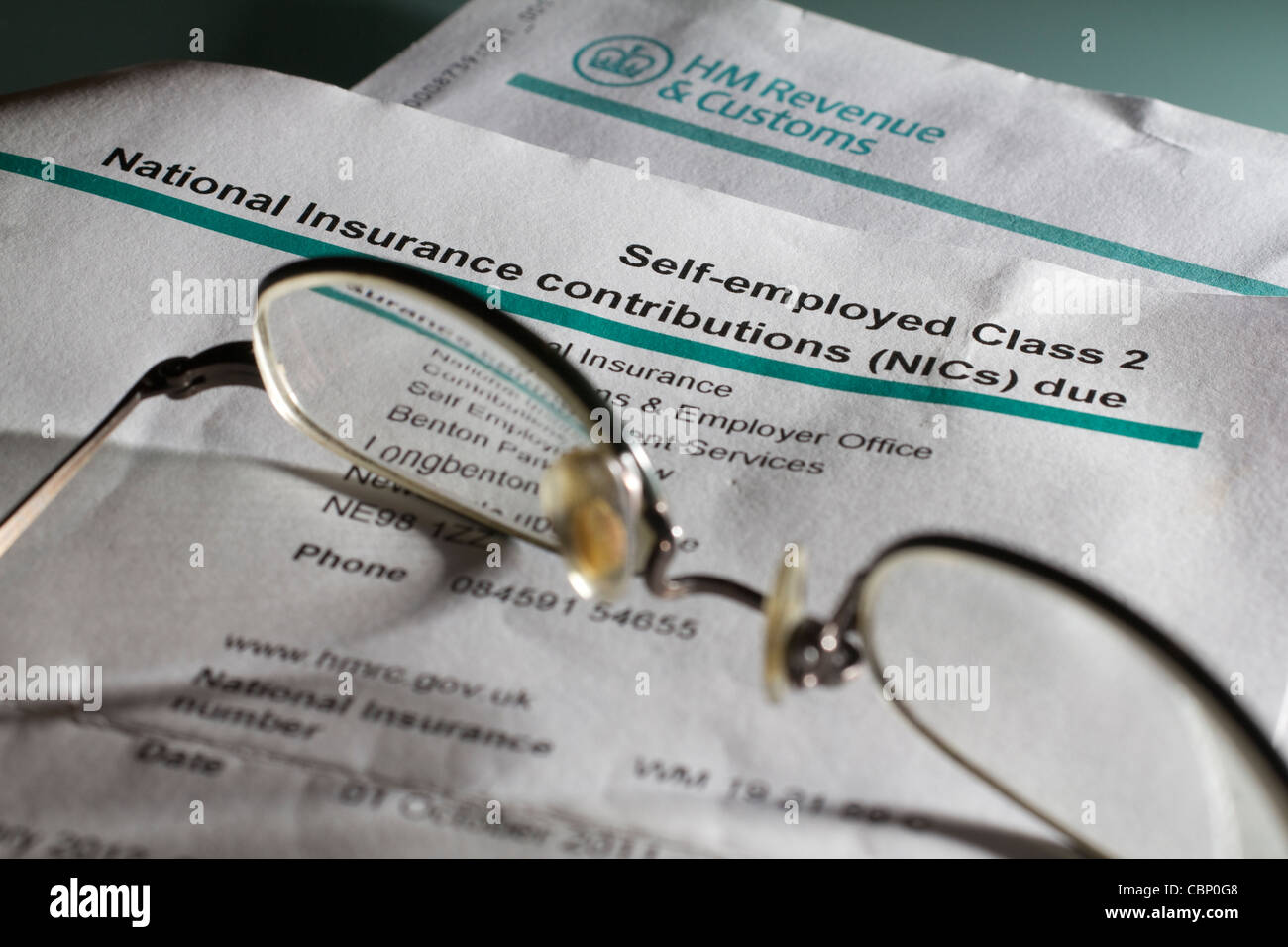 Self employed national insurance contributions NICS form - Stock Image