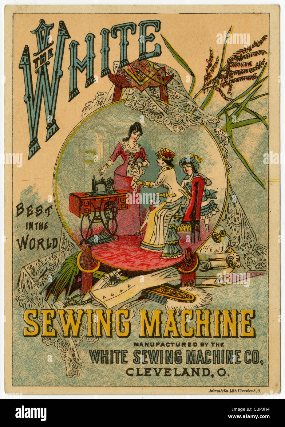 Circa 1890s Victorian trade card, The White Sewing Machine Co, Cleveland, Ohio. - Stock Image