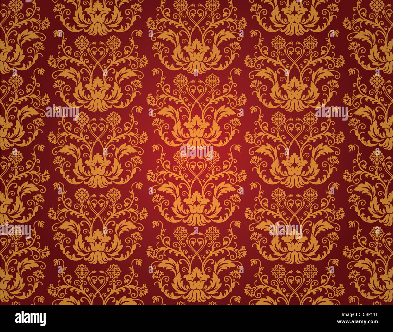 Seamless Red And Gold Floral Vintage Wallpaper Pattern