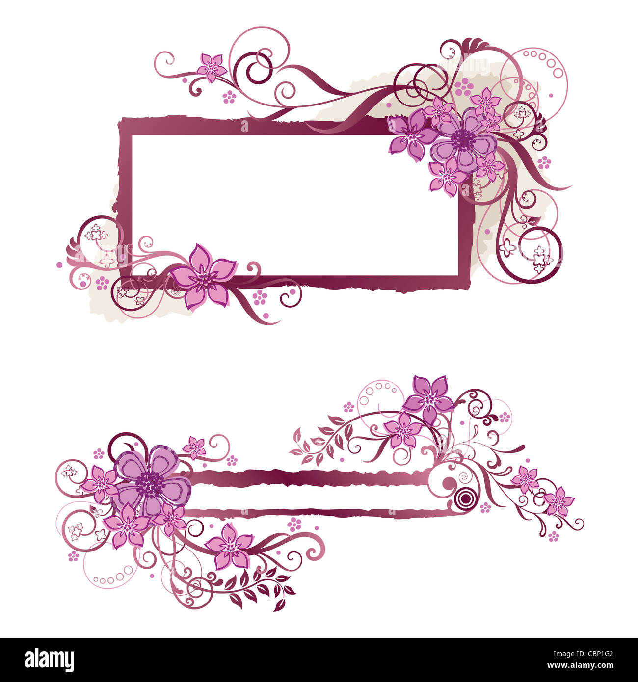 Pink Floral Frame And Banner Design Isolated On White Background