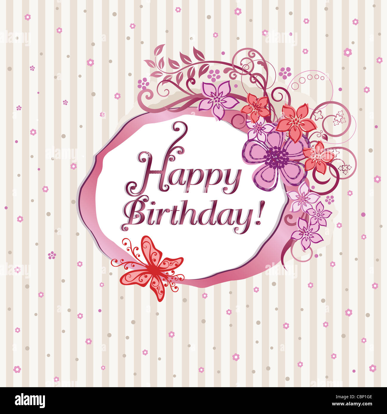Pink flowers and butterflies happy birthday card design