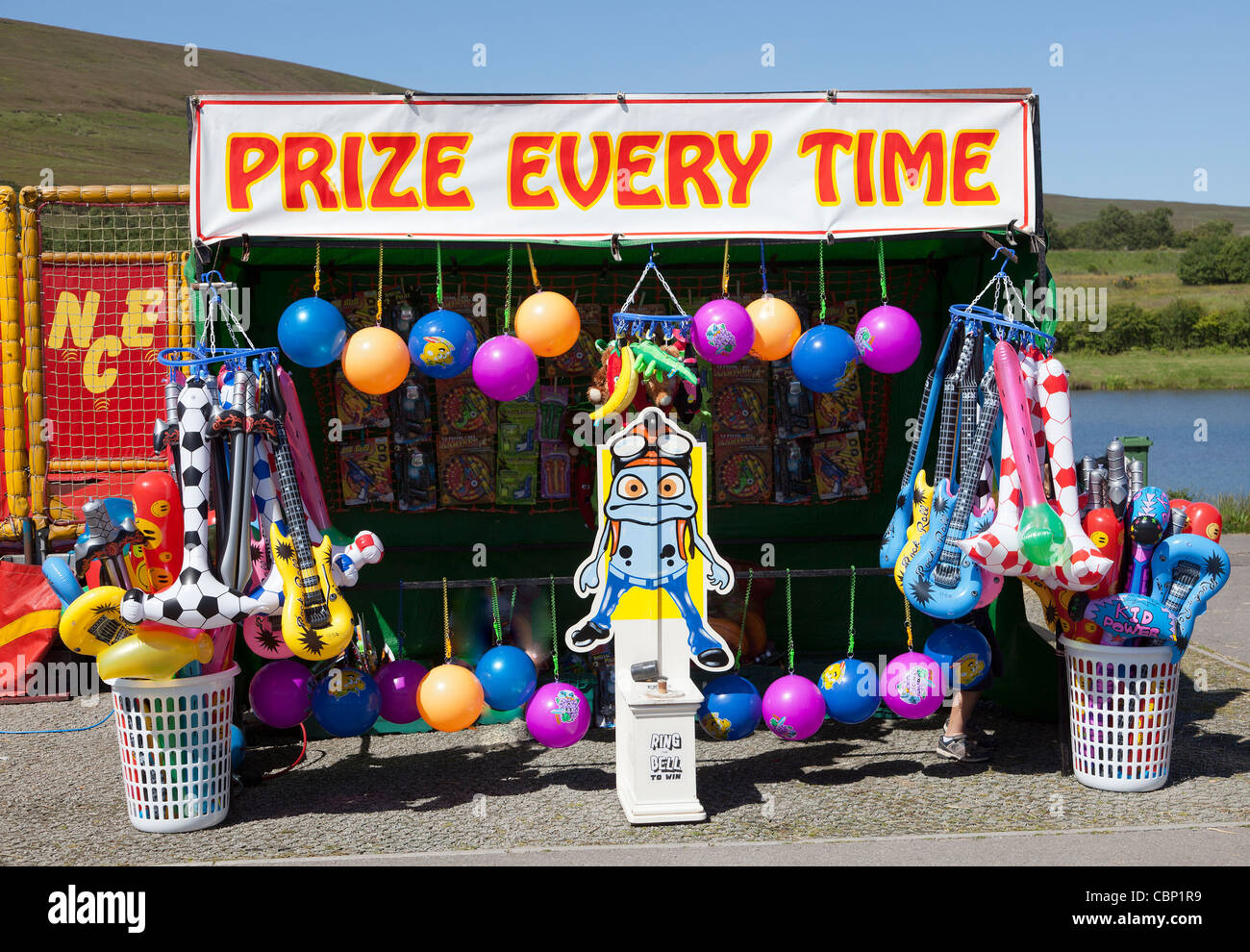 Prize Every Time stall at Garn Lakes Country Fayre Blaenavon Wales UK - Stock Image