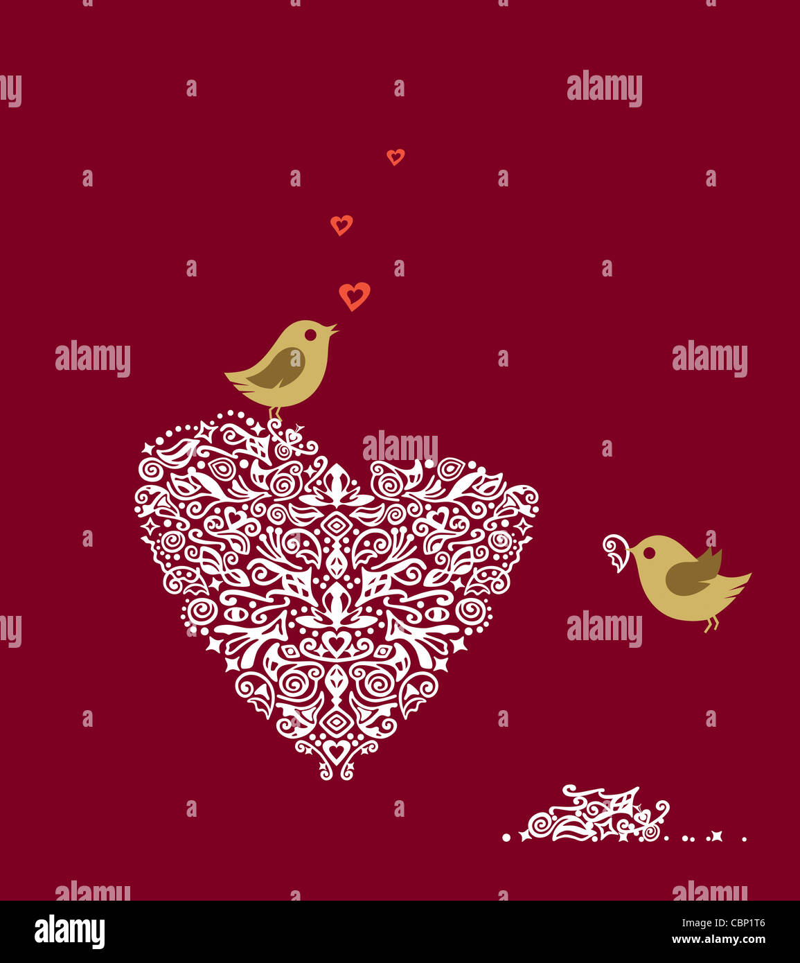 Two love birds and detailed heart shaped ornament on red background ...