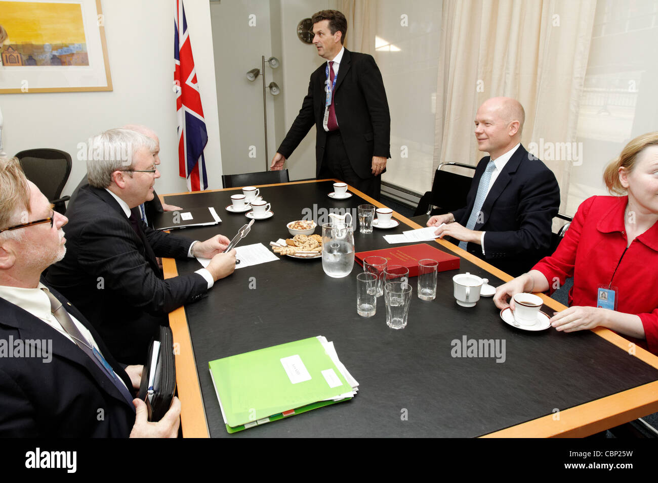 Australian Foreign Minister Kevin Rudd with British Foreign Minister William Hague during a bilateral meeting at - Stock Image