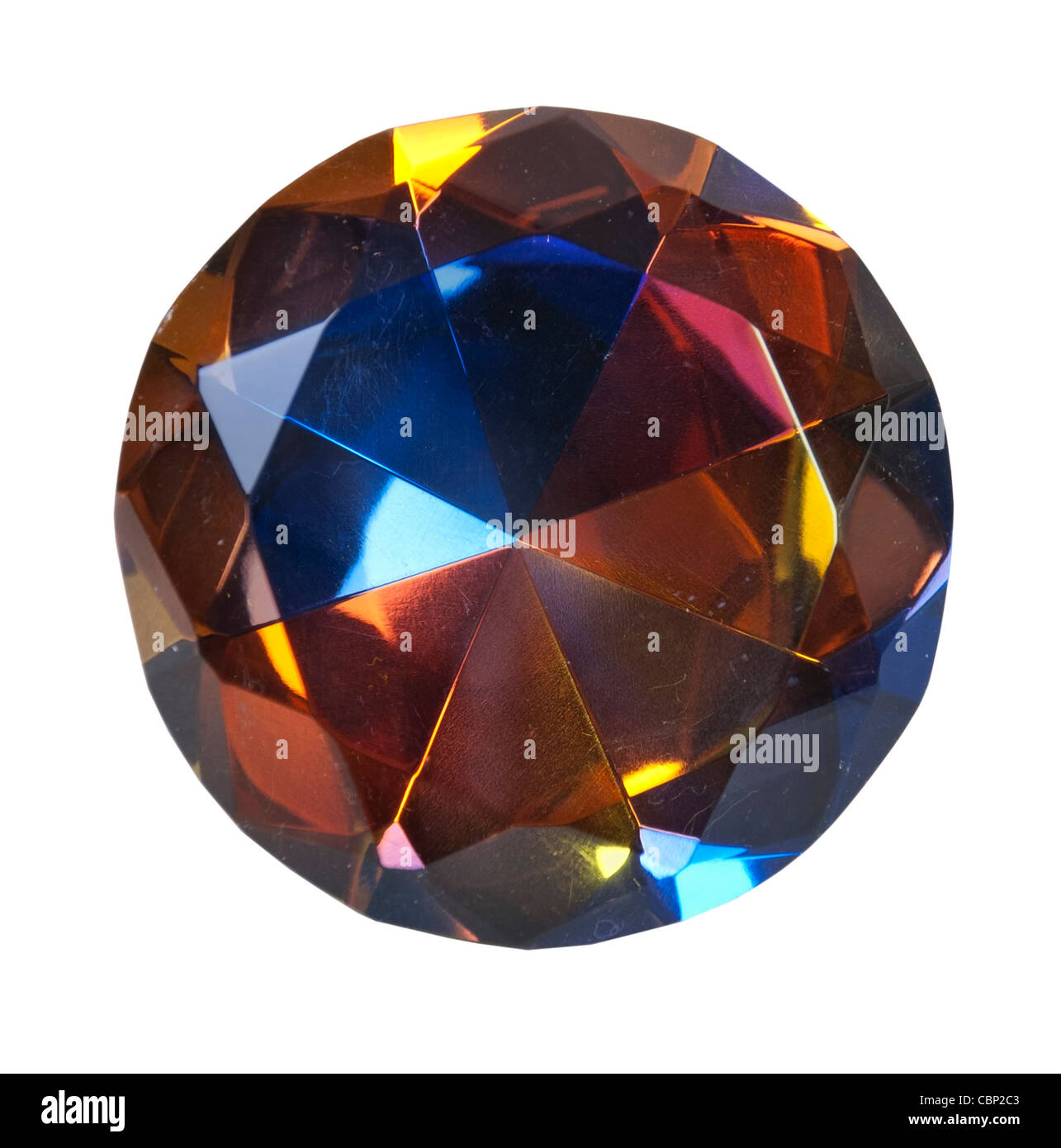 Large multiple color gem with bright facets - path included - Stock Image