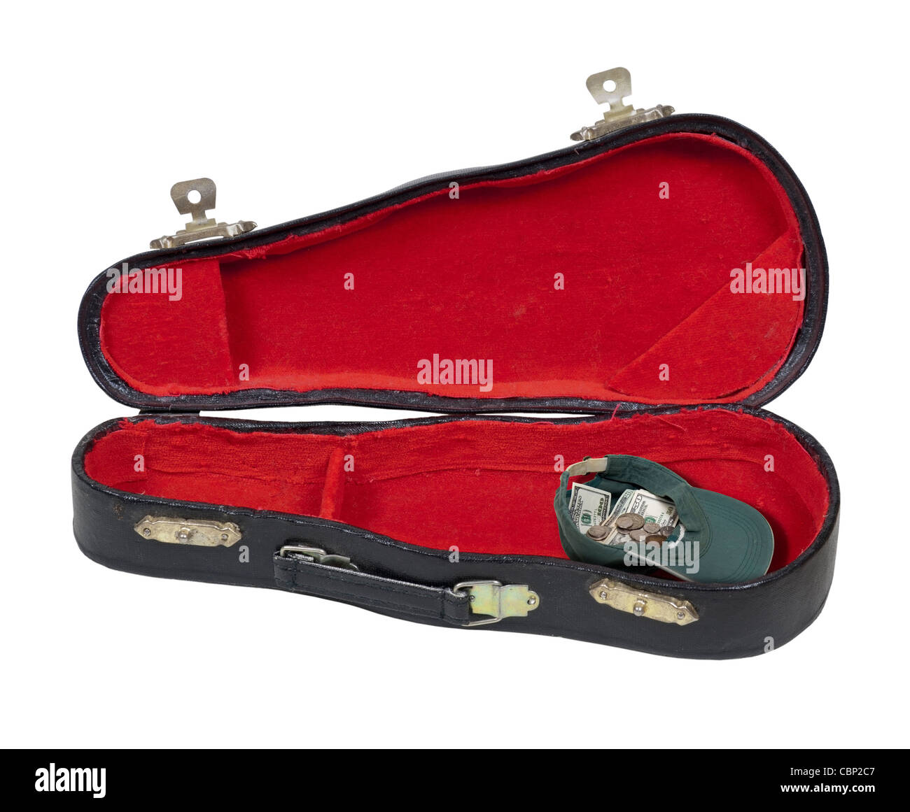Music case with a hat full of money to hold tips during performances - path included - Stock Image