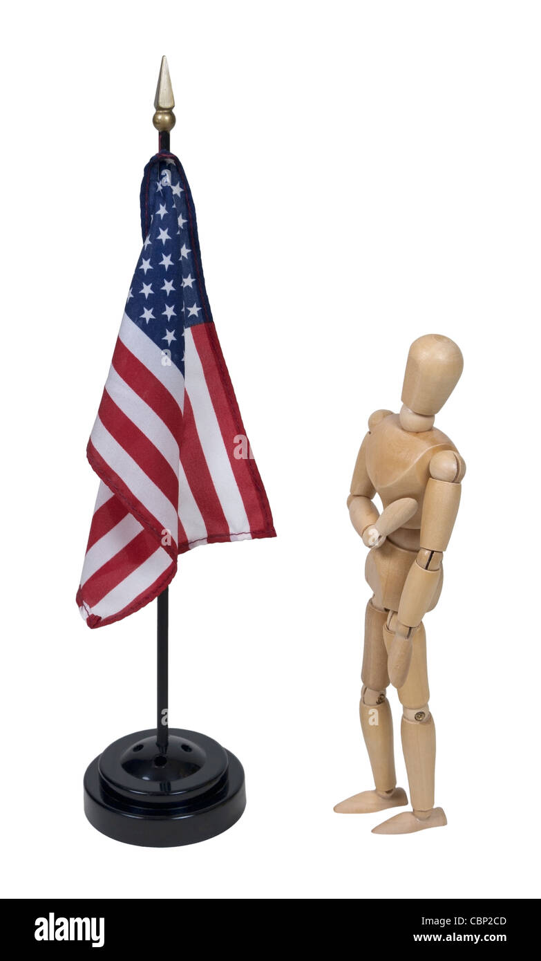 Holding hand over heart while pledging to the American flag - path included - Stock Image