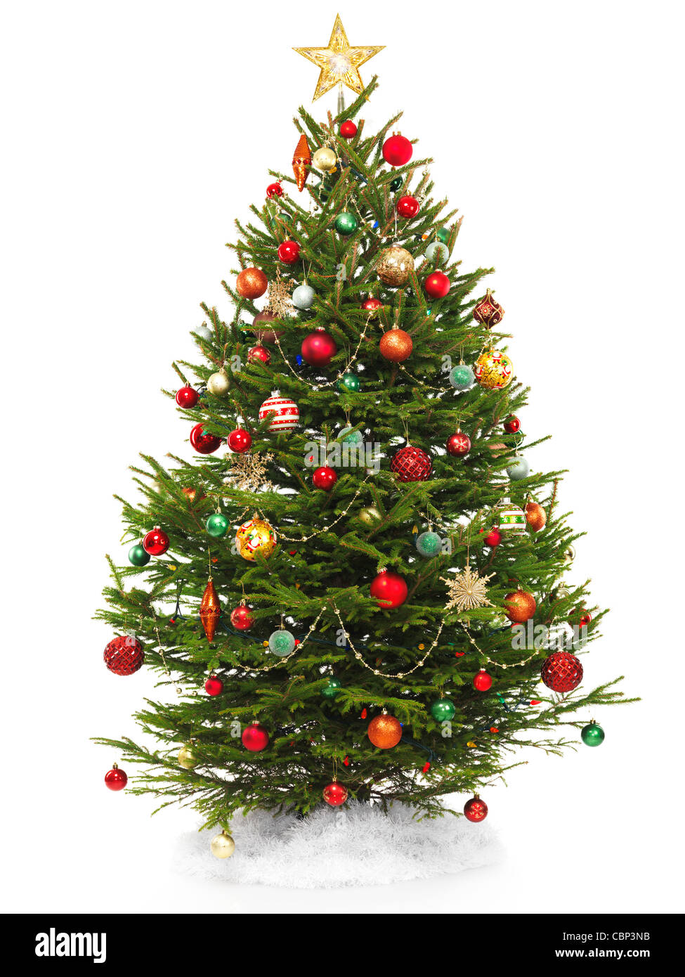 beautiful decorated christmas tree with a star topper isolated on white background stock image - Beautifully Decorated Christmas Tree Images