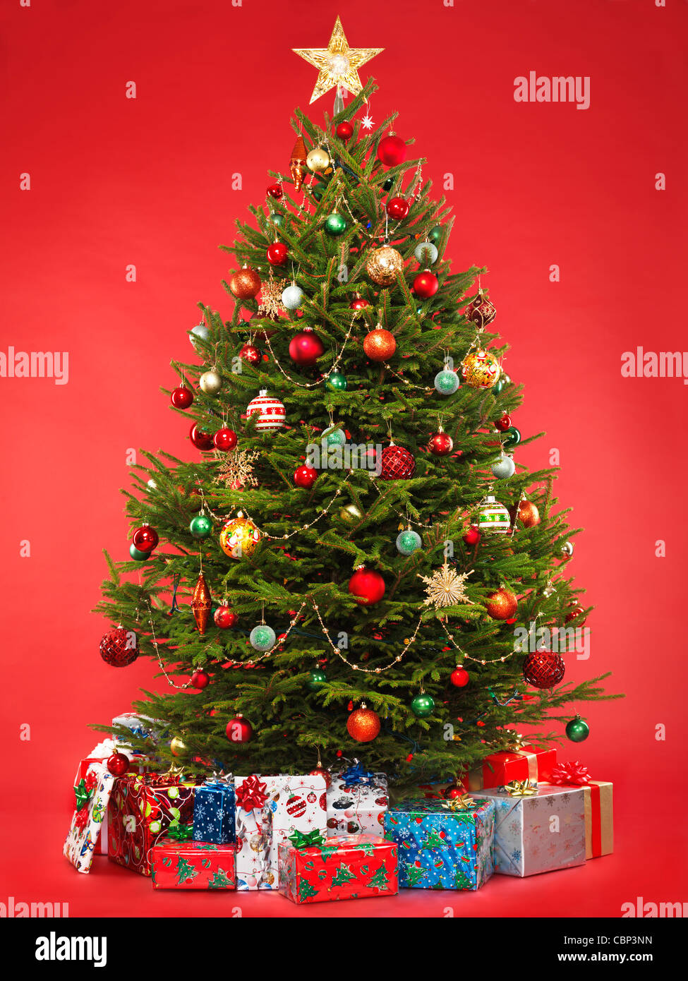 Beautiful decorated Christmas tree with colorful wrapped gifts under it. Isolated on bright red background. - Stock Image