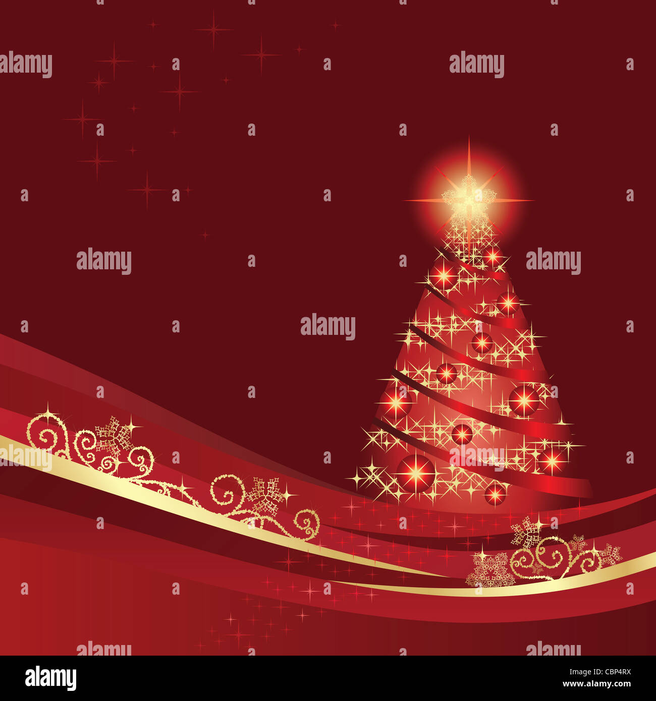 Glowing Christmas tree in a red winter garden Stock Photo