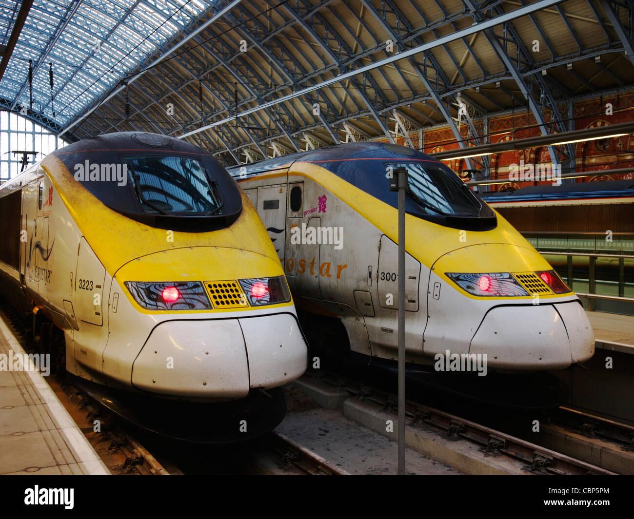 Eurostar trains in St. Pancras Station, London - Stock Image