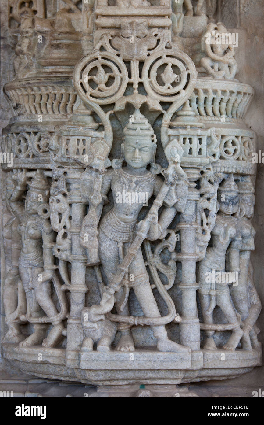 Detail of stone carvings at The Ranakpur Jain Temple at Desuri Tehsil in Pali District of Rajasthan, Western India - Stock Image
