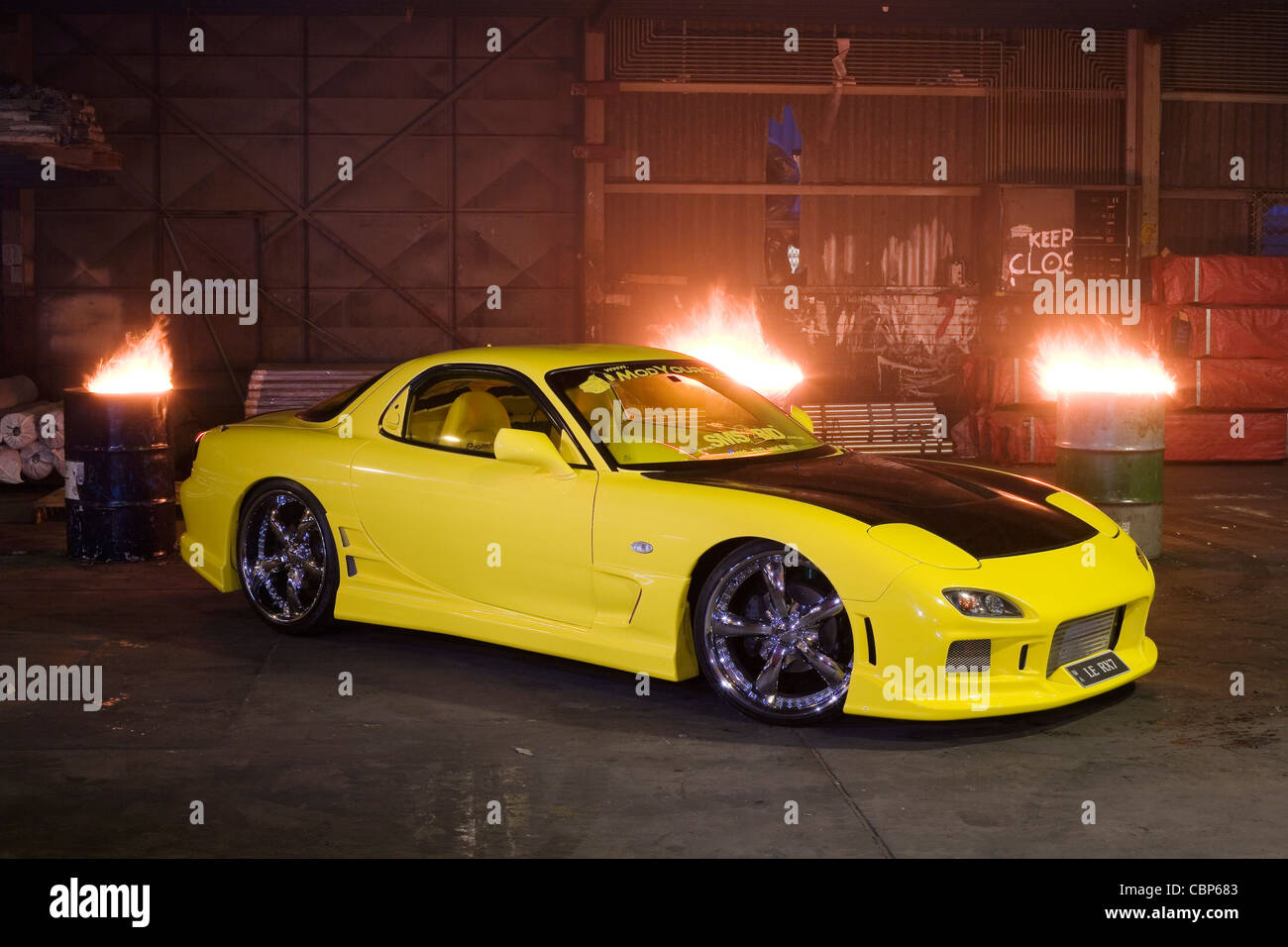 Modified Series VI FD3S Mazda RX7 Rotary Engined Japanese Sports Car    Stock Image