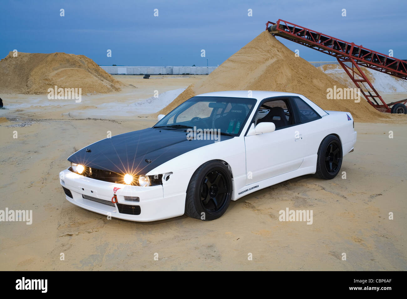 Exceptional Boy Racer Style Nissan 180SX Silvia S13 Modified And Custom Car   Stock  Image
