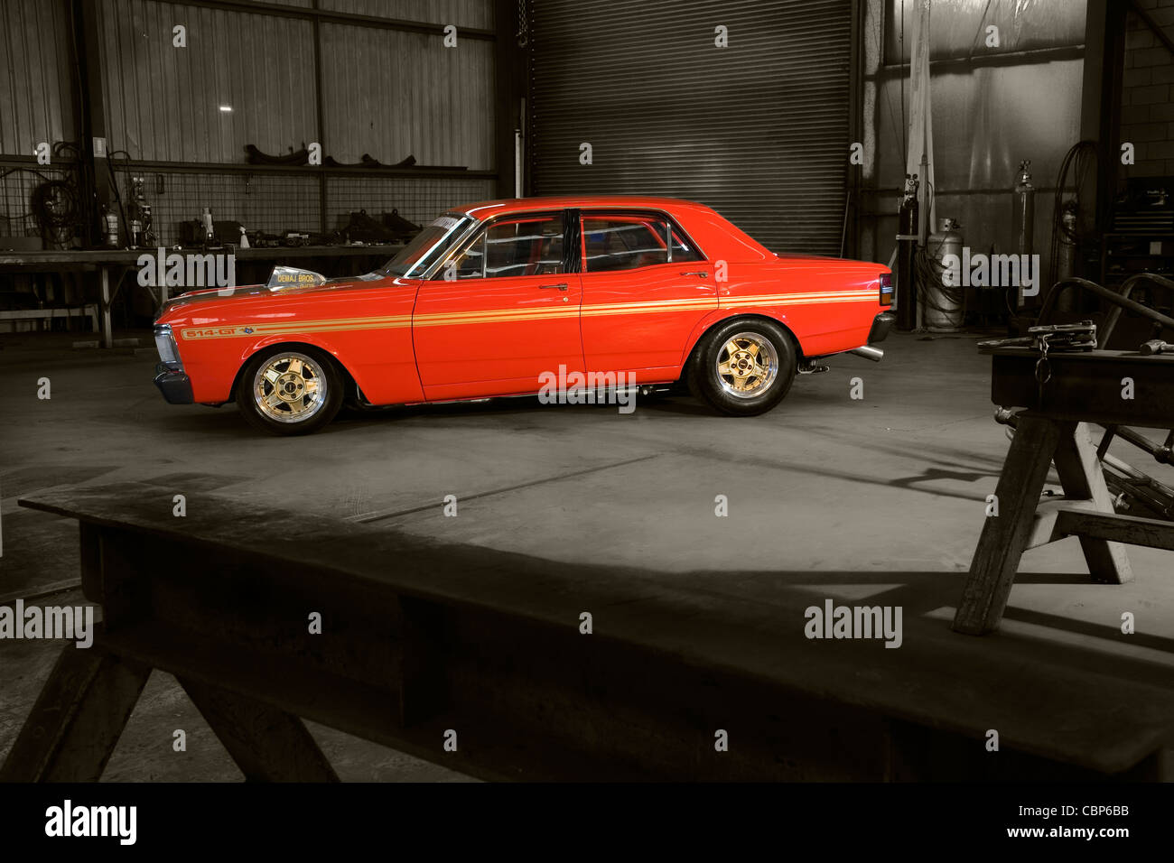 Fully Customised Classic Australian Ford Xy Gt Falcon Posed In A Factory Location And Then Photoshop Modified For Visual Impact