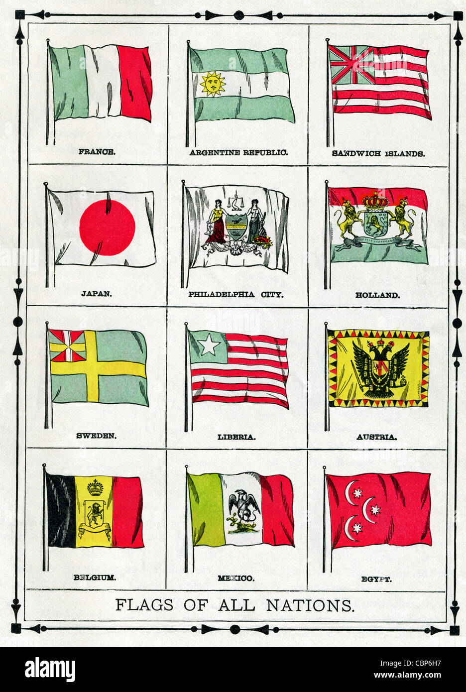 The flags shown in this illustration were current in 1896. They include France, Argentine Republic, Sandwich Islands, - Stock Image