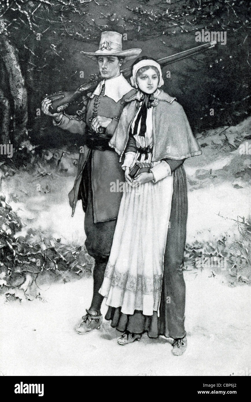 The Pilgrims were the founders of Plymouth Colony in Massachusetts.  Here a couple are on their way to church. - Stock Image