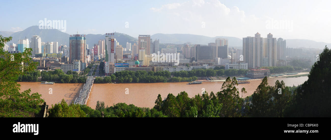 Yellow River in Lanzhou city ,Gansu province of China - Stock Image