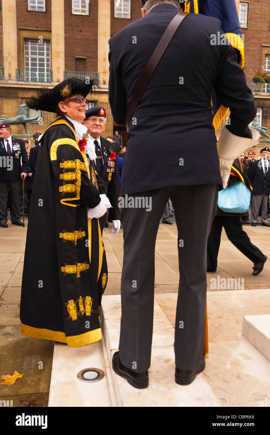 The Lord Mayor of Norwich on Remembrance Day ( also known as Poppy Day or Armistice Day ) in Norwich , Norfolk , Stock Photo