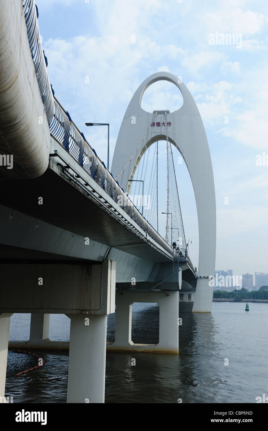 Scene of Liede bridge over the Pearl River in Guangzhou city, Guangdong province of China - Stock Image