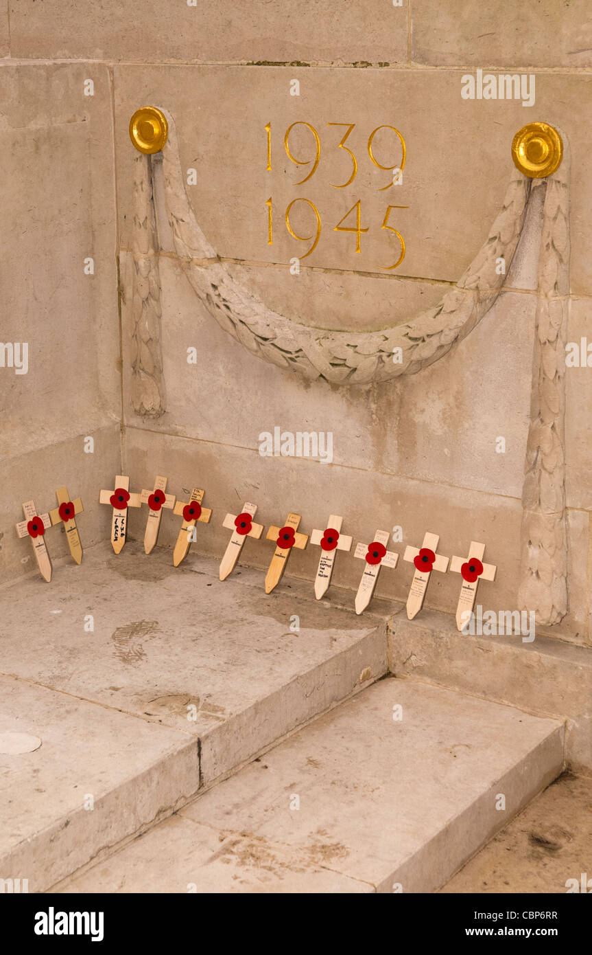 Poppies on Remembrance Day ( also known as Poppy Day or Armistice Day ) in Norwich , Norfolk , England , Uk Stock Photo