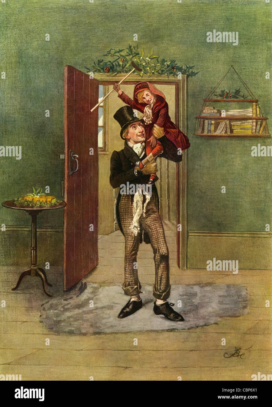 Tiny Tim Christmas Carol.Bob Cratchit And Tiny Tim From A Christmas Carol Stock