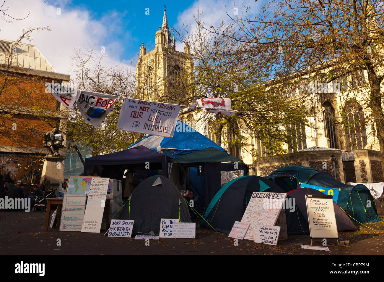 Tents and protesters in Norwich , Norfolk , England , Britain , Uk - Stock Image