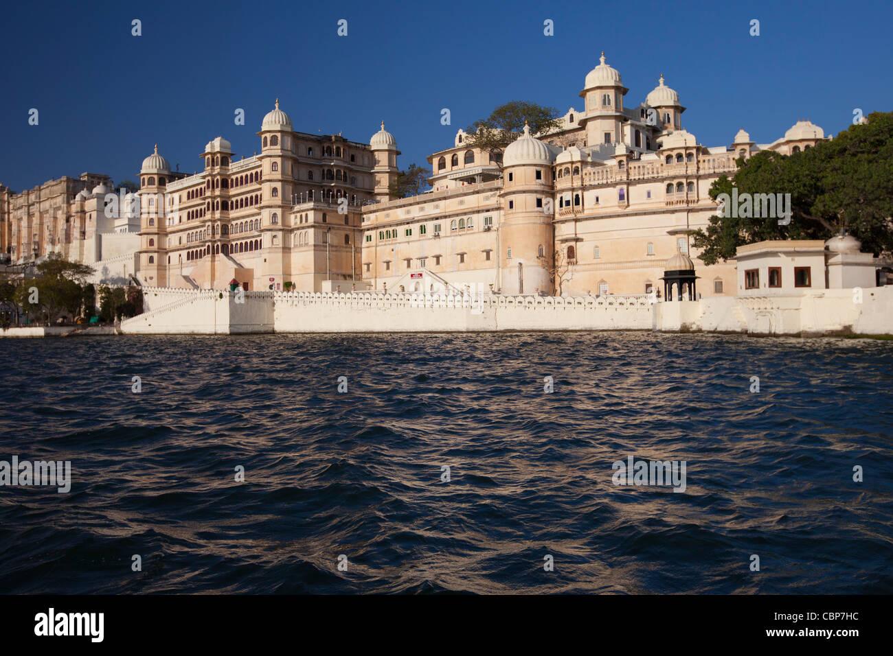 City Palace Complex and Shiv Niwas Palace Hotel of 76th Maharana of Mewar, Shreeji Arvind Singh Mewar of Udaipur - Stock Image
