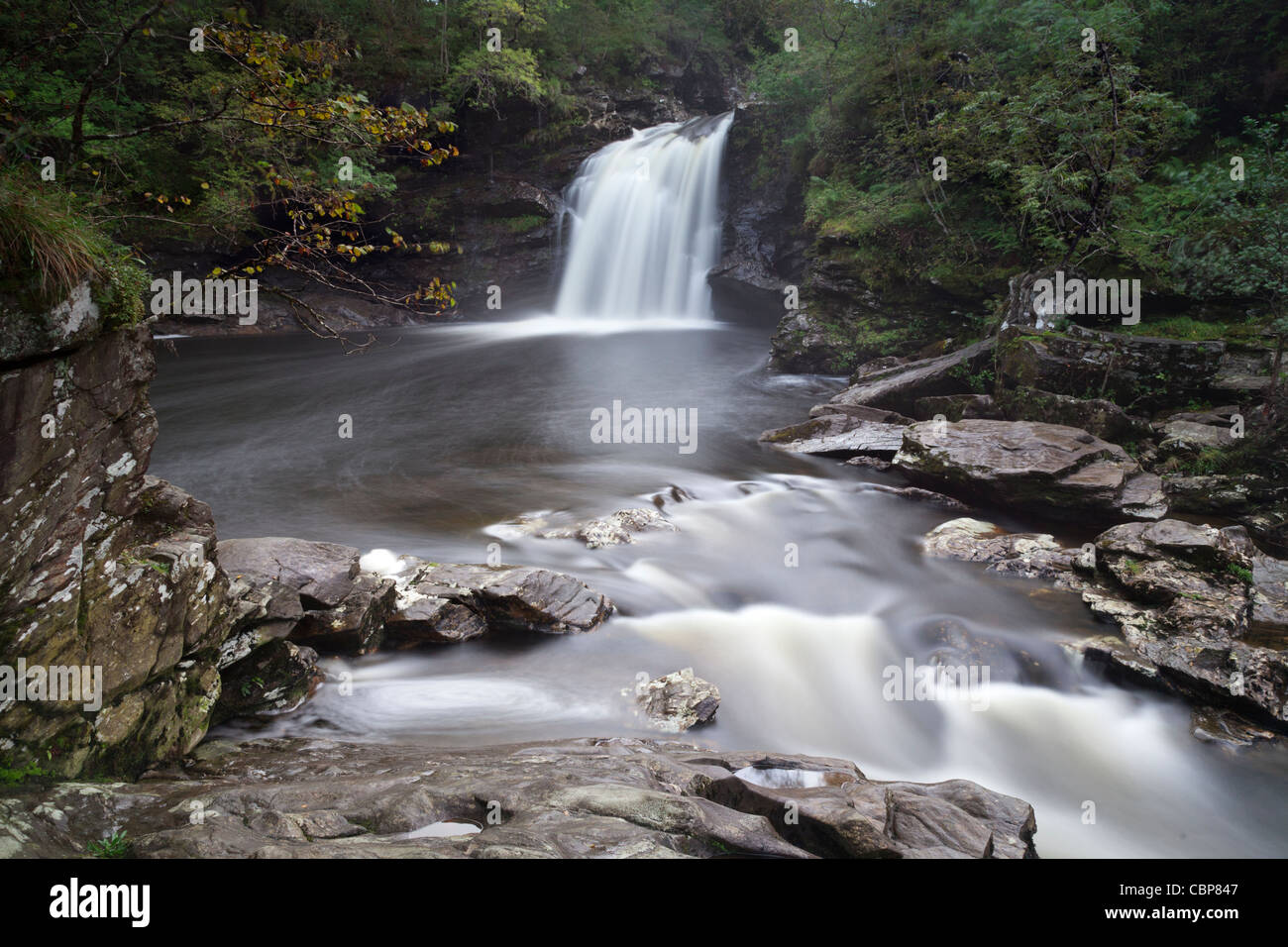 Falls of Falloch, Stirling, Scotland, long exposure. - Stock Image