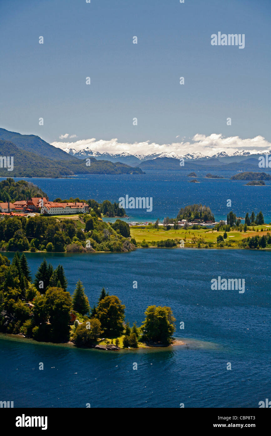 View over Nahuel Huapi National Park lake Nahuel Huapi and Llao Llao hotel, near Bariloche, Patagonia. Argentina. - Stock Image