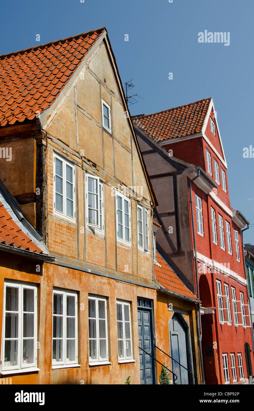 Denmark, Helsingoer. Traditional historic half-timbered architecture, colorful homes. - Stock Image