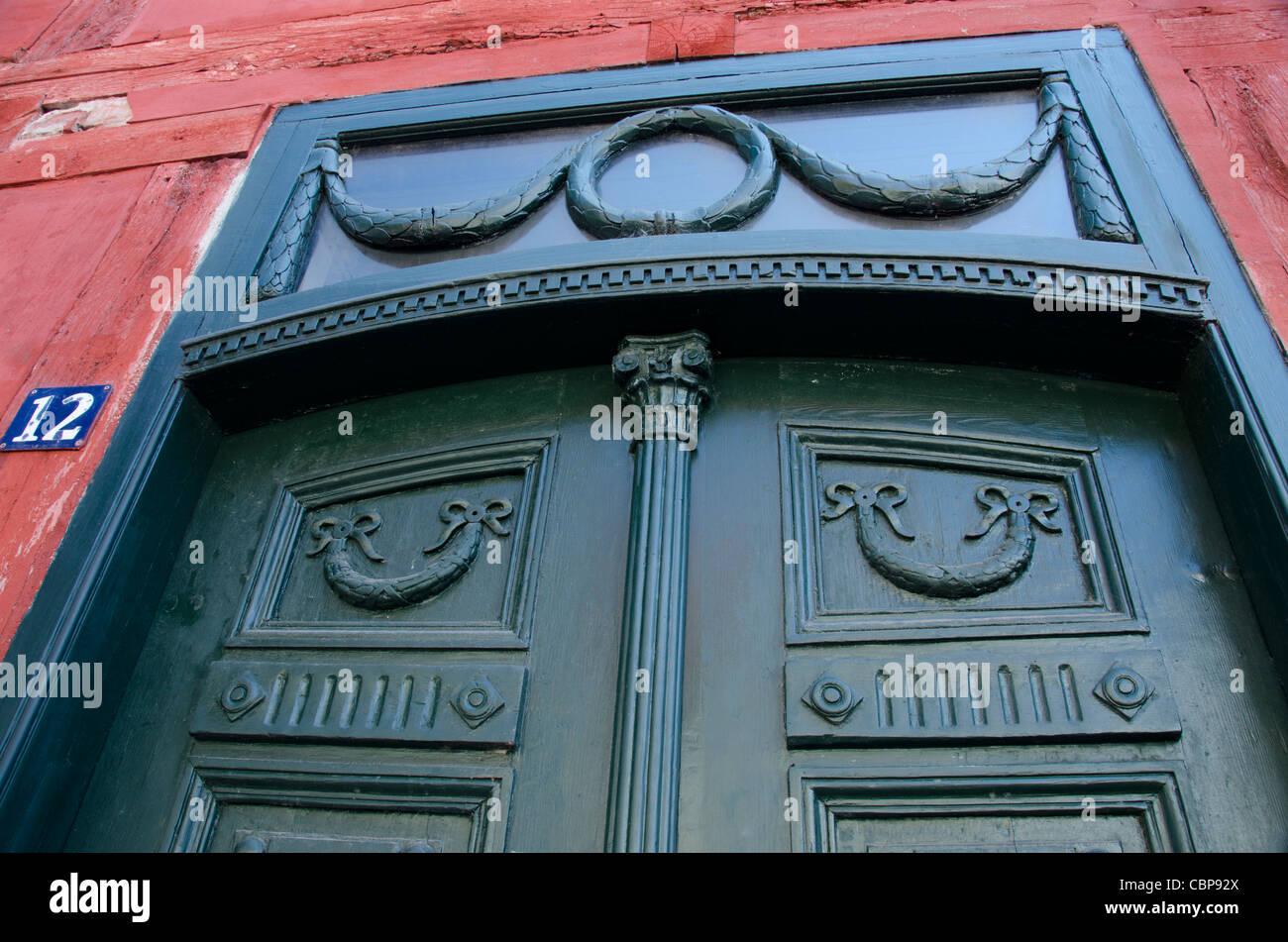 Denmark, Helsingoer. Historic downtown door detail. - Stock Image