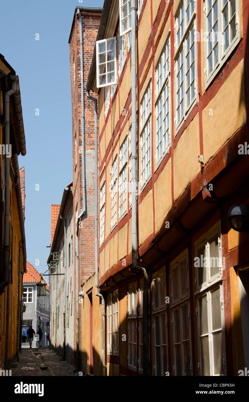 Denmark, Helsingoer. Typical 15th-17th century half-timbered architecture. - Stock Image