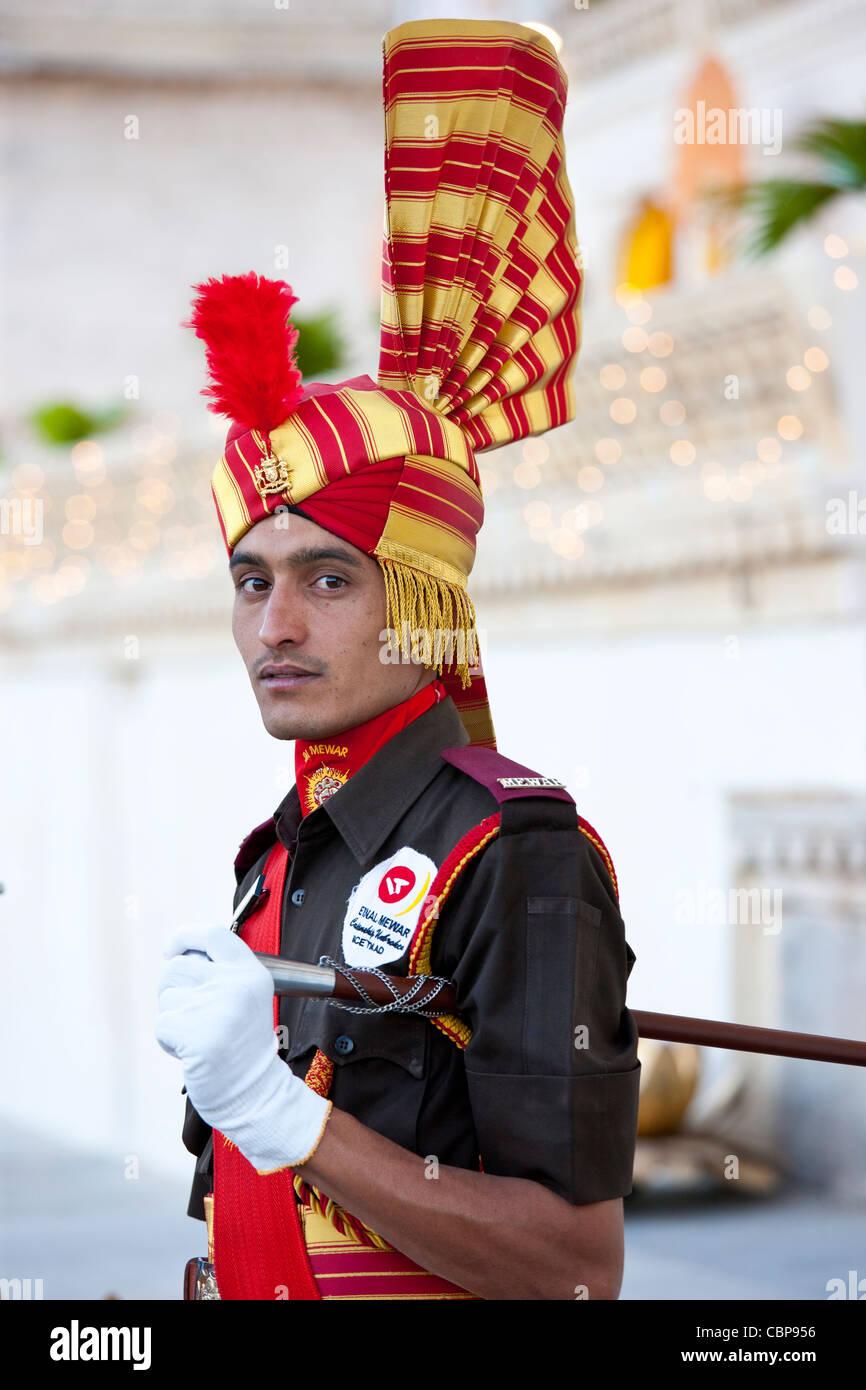 Ceremonial guard Jai Mewar of 76th Maharana of Mewar, Mewar of Udaipur, at the City Palace, Rajasthan, India - Stock Image