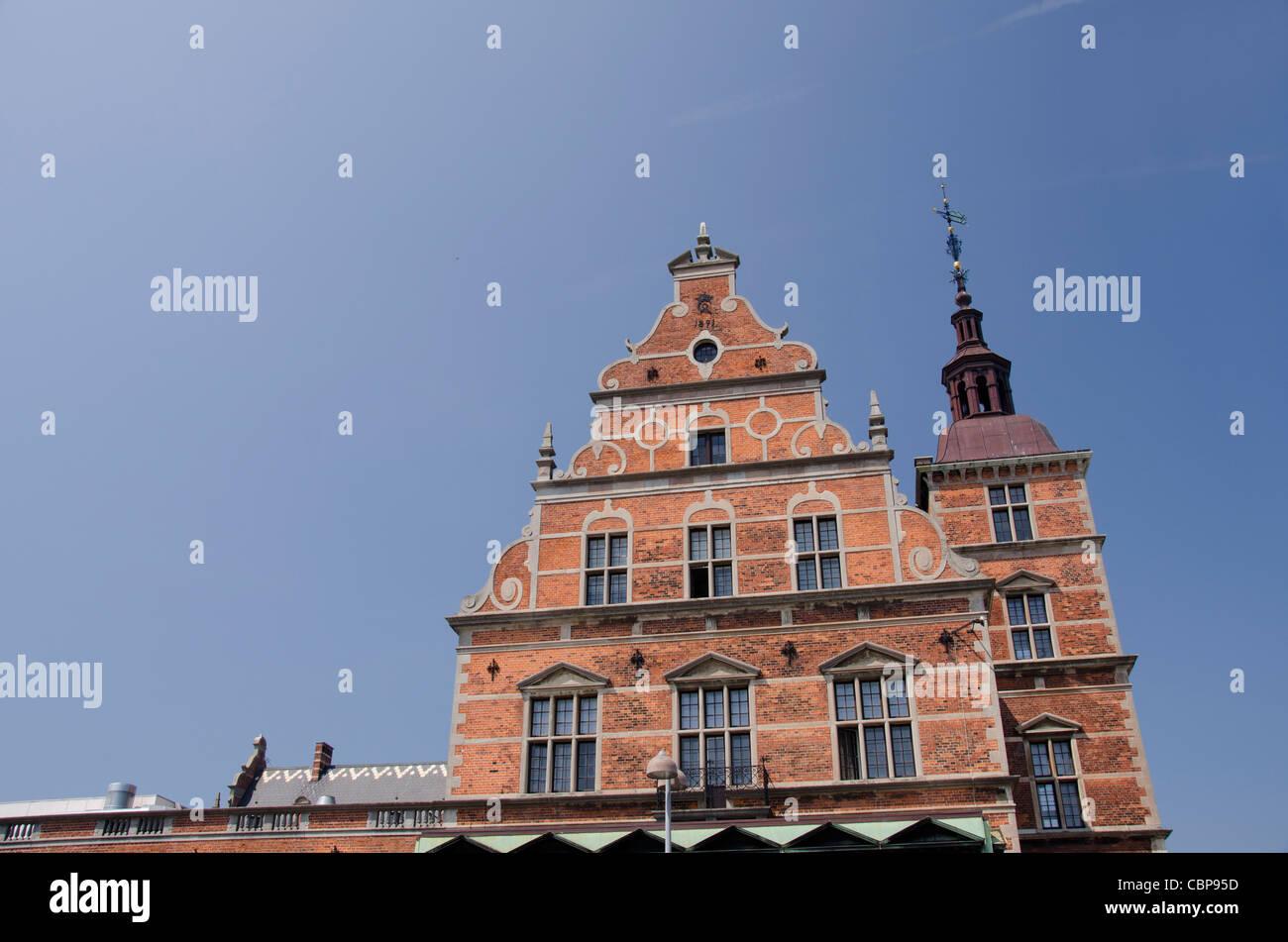 Denmark, Helsingoer. Historic Helsingoer train station. - Stock Image