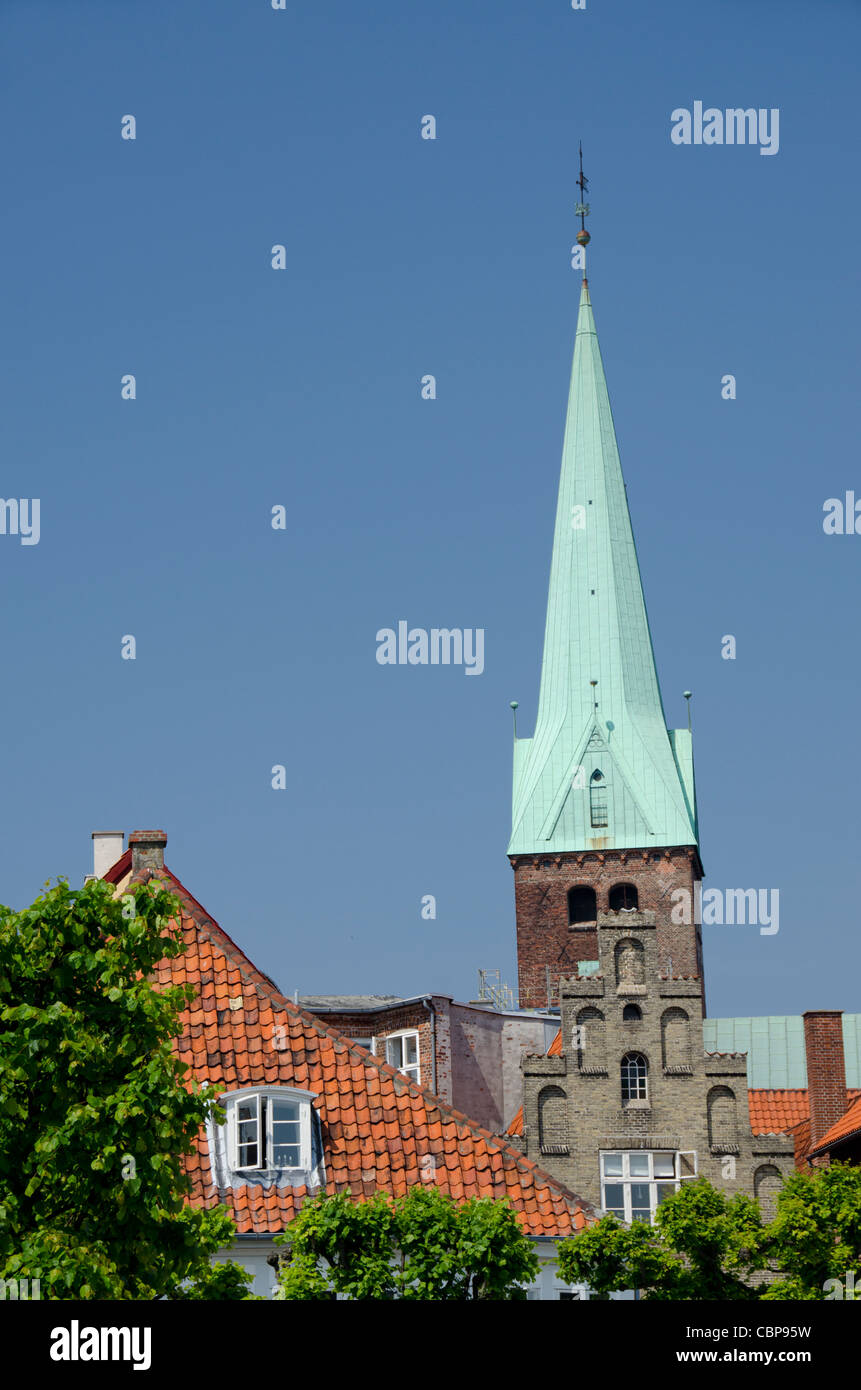Denmark, Helsingoer. Downtown view with historic church steeple. - Stock Image