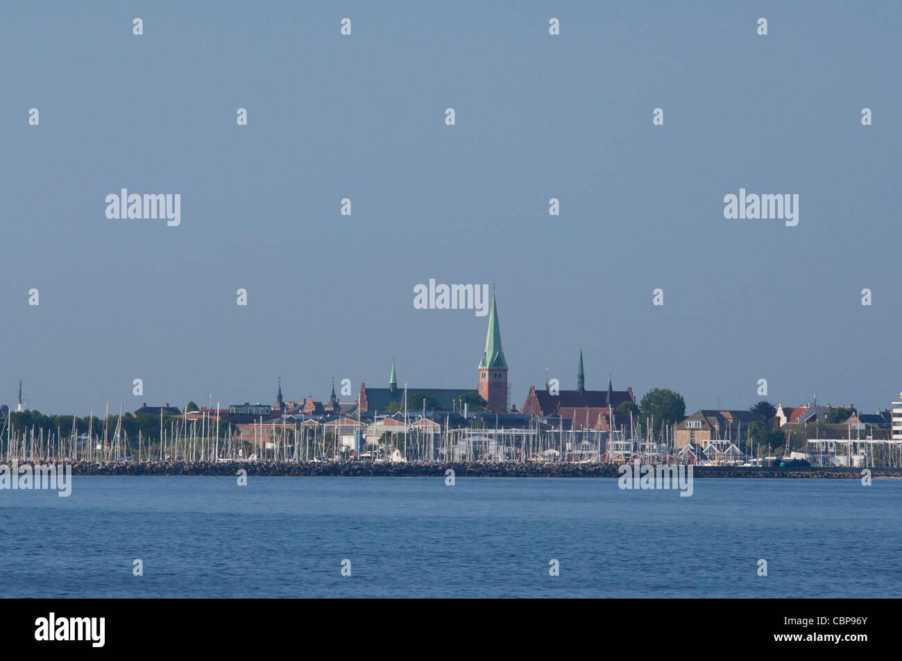 Denmark, Helsingoer. North Sea view of the port area of Helsingoer and historic city skyline. - Stock Image