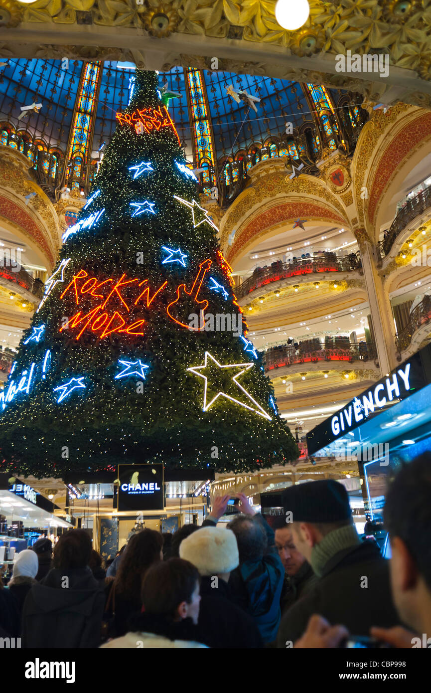 Paris, France, Christmas Decorations, Decorated Tree, inside 'Galeries Lafayette' Department Store, Christmas - Stock Image