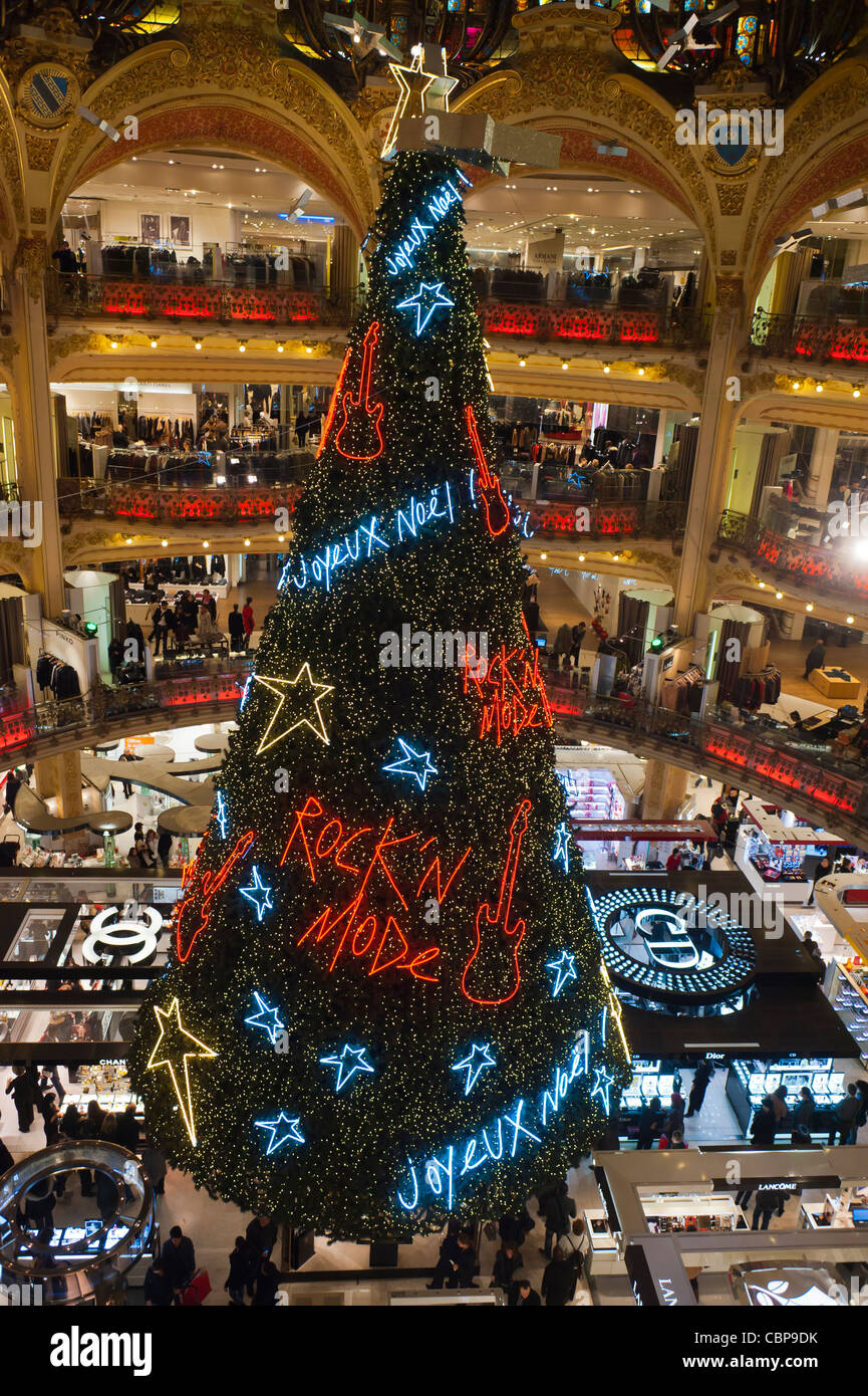 Paris, France, Christmas Decorations, Decorated Tree, inside Galeries Lafayette Department Store, Christmas Shopping - Stock Image