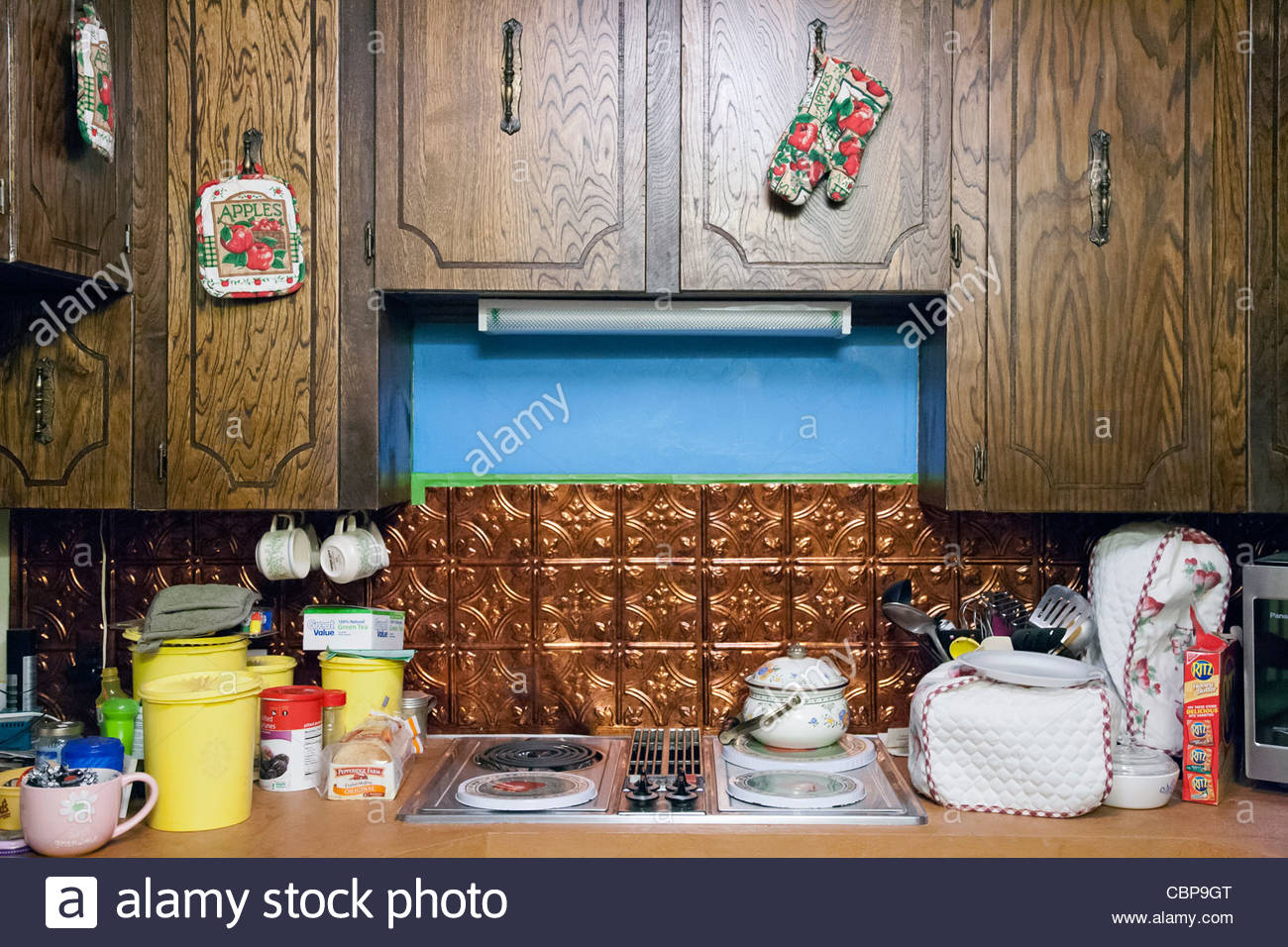Interior of a kitchen in a home in Houma, Louisiana, United States - Stock Image