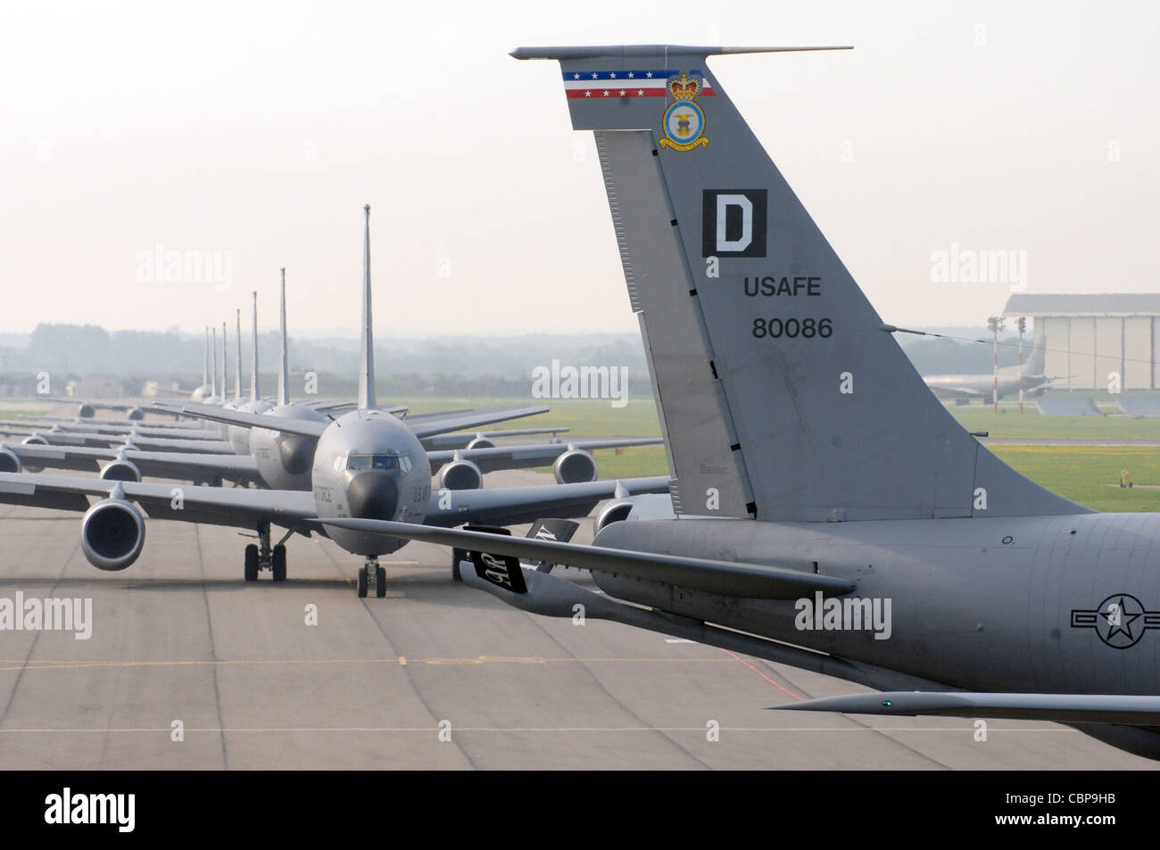 The tail of 100th Air Refueling Wing KC-135 Stratotankers bear ...